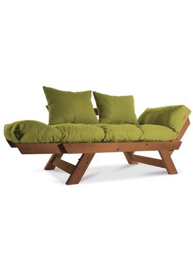 Dekoro Kombin Wood Ahşap Iki Kişilik Kanepe, Bahçe Kanepesi, Yataklı Kanepe (Gürgen/Yeşil) Yeşil